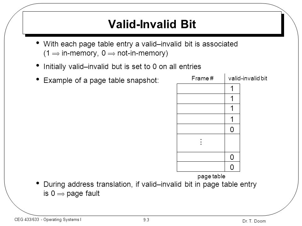 Dr. T. Doom 9.3 CEG 433/633 - Operating Systems I Valid-Invalid Bit With each page table entry a valid–invalid bit is associated (1  in-memory, 0  n