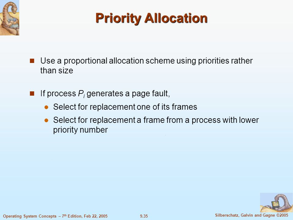 9.35 Silberschatz, Galvin and Gagne ©2005 Operating System Concepts – 7 th Edition, Feb 22, 2005 Priority Allocation Use a proportional allocation scheme using priorities rather than size If process P i generates a page fault, Select for replacement one of its frames Select for replacement a frame from a process with lower priority number