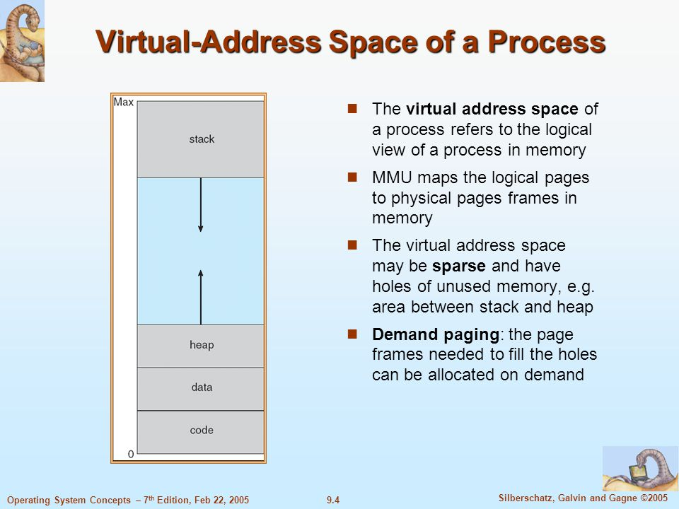 9.4 Silberschatz, Galvin and Gagne ©2005 Operating System Concepts – 7 th Edition, Feb 22, 2005 Virtual-Address Space of a Process The virtual address space of a process refers to the logical view of a process in memory MMU maps the logical pages to physical pages frames in memory The virtual address space may be sparse and have holes of unused memory, e.g.