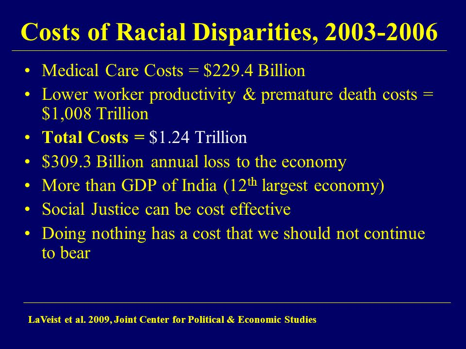 Costs of Racial Disparities, 2003-2006 Medical Care Costs = $229.4 Billion Lower worker productivity & premature death costs = $1,008 Trillion Total C