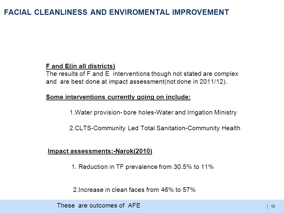 | FACIAL CLEANLINESS AND ENVIROMENTAL IMPROVEMENT F and E(in all districts) The results of F and E interventions though not stated are complex and are