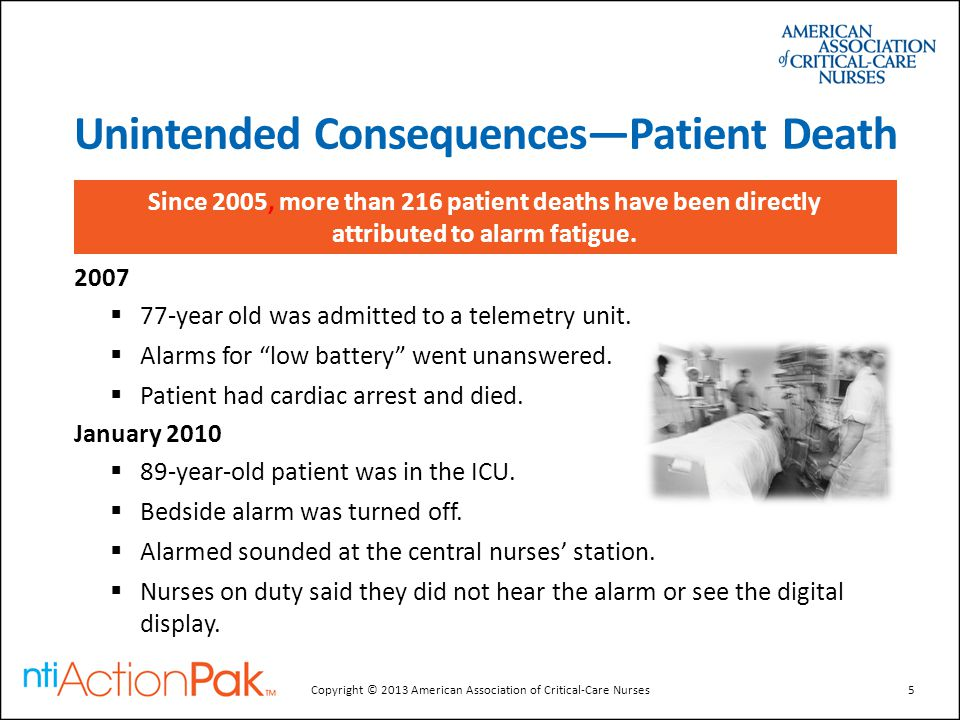 """Unintended Consequences—Patient Death 2007  77-year old was admitted to a telemetry unit.  Alarms for """"low battery"""" went unanswered.  Patient had c"""