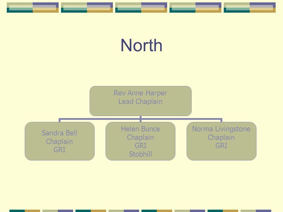 North Rev Anne Harper Lead Chaplain Sandra Bell Chaplain GRI Helen Bunce Chaplain GRI Stobhill Norma Livingstone Chaplain GRI