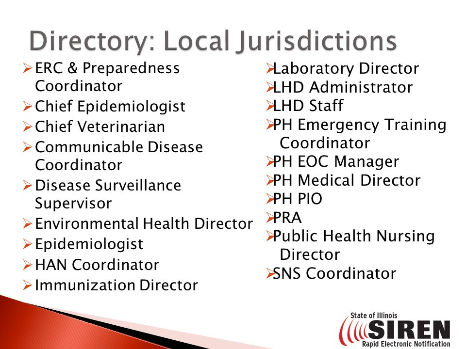  ERC & Preparedness Coordinator  Chief Epidemiologist  Chief Veterinarian  Communicable Disease Coordinator  Disease Surveillance Supervisor  En