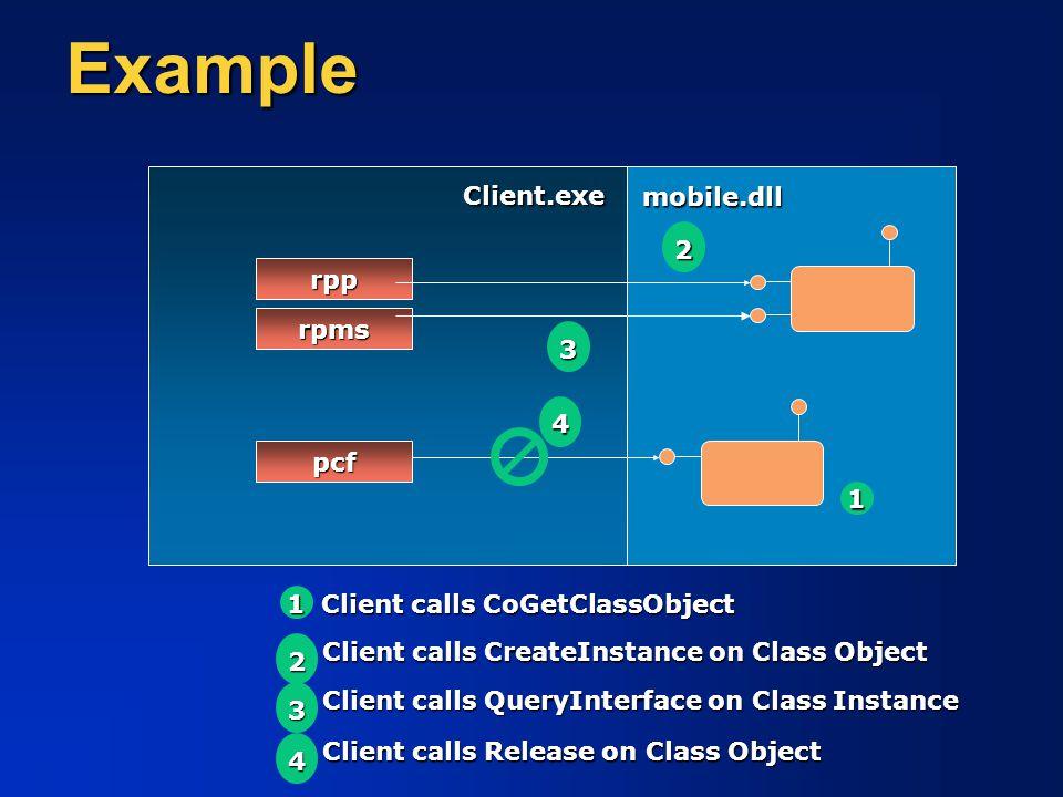 Example mobile.dll Client calls CoGetClassObject 1 1 rpp pcf Client.exe Client calls CreateInstance on Class Object 22 Client calls Release on Class O