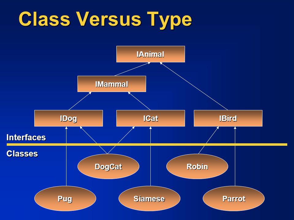 Class Versus Type IAnimal PugSiameseParrot DogCatRobin IMammal IDogICat IBird Interfaces Classes