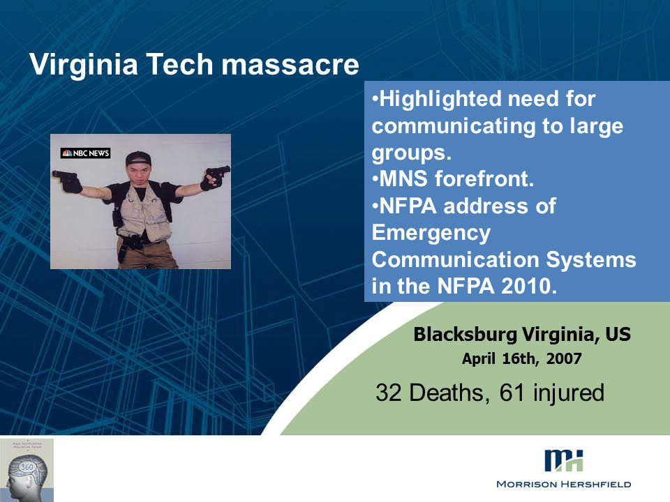 Virginia Tech massacre 32 Deaths, 61 injured Blacksburg Virginia, US April 16th, 2007 Highlighted need for communicating to large groups. MNS forefron