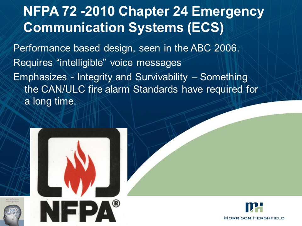 "NFPA 72 -2010 Chapter 24 Emergency Communication Systems (ECS) Performance based design, seen in the ABC 2006. Requires ""intelligible"" voice messages"