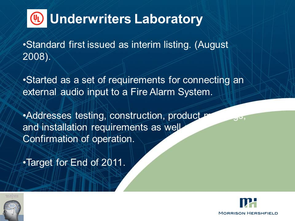 Underwriters Laboratory Standard first issued as interim listing. (August 2008). Started as a set of requirements for connecting an external audio inp
