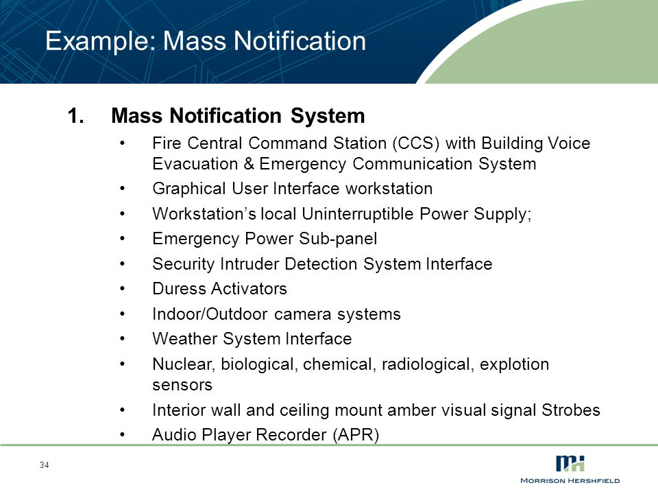 34 Example: Mass Notification 1.Mass Notification System Fire Central Command Station (CCS) with Building Voice Evacuation & Emergency Communication S