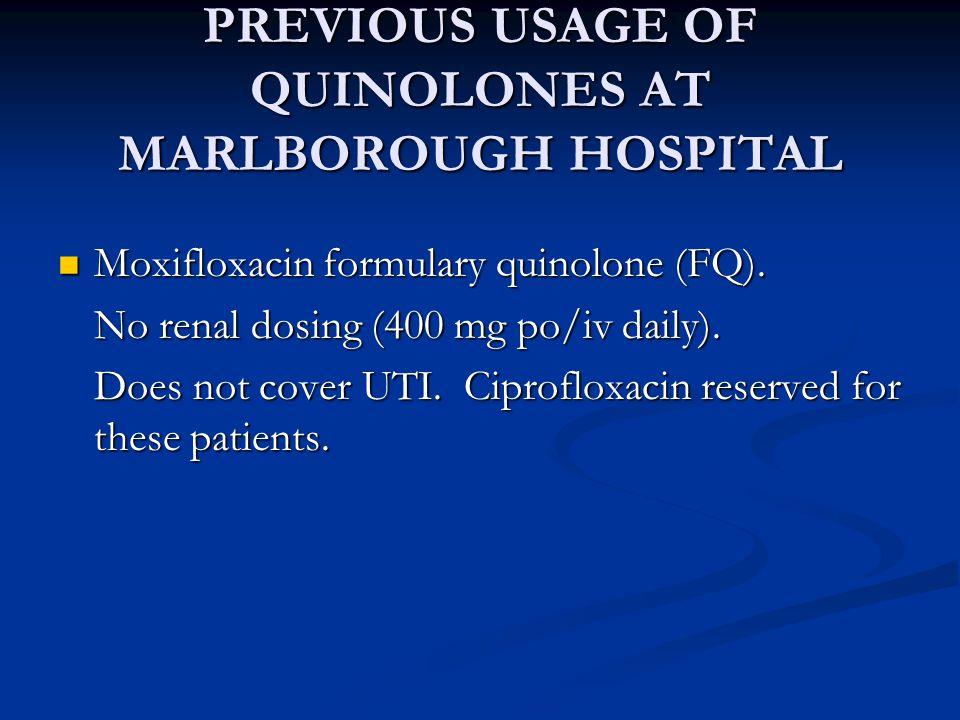 PREVIOUS USAGE OF QUINOLONES AT MARLBOROUGH HOSPITAL Moxifloxacin formulary quinolone (FQ).