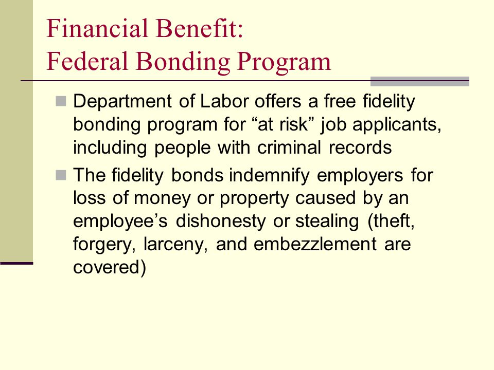 Financial Benefit: Federal Bonding Program Department of Labor offers a free fidelity bonding program for at risk job applicants, including people with criminal records The fidelity bonds indemnify employers for loss of money or property caused by an employee's dishonesty or stealing (theft, forgery, larceny, and embezzlement are covered)