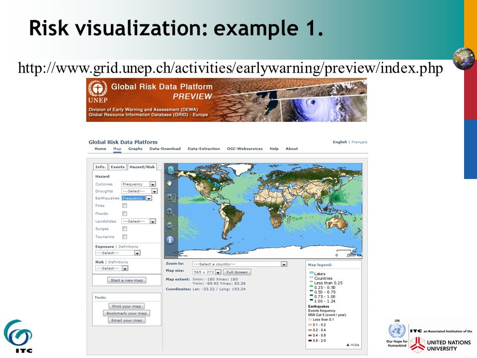 Risk visualization: example 1. http://www.grid.unep.ch/activities/earlywarning/preview/index.php