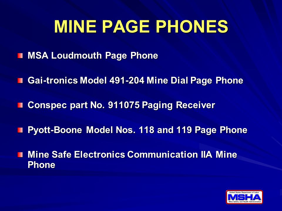 MINE PAGE PHONES MSA Loudmouth Page Phone Gai-tronics Model 491-204 Mine Dial Page Phone Conspec part No.