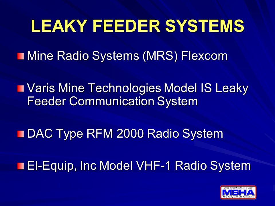 LEAKY FEEDER SYSTEMS Mine Radio Systems (MRS) Flexcom Varis Mine Technologies Model IS Leaky Feeder Communication System DAC Type RFM 2000 Radio Syste