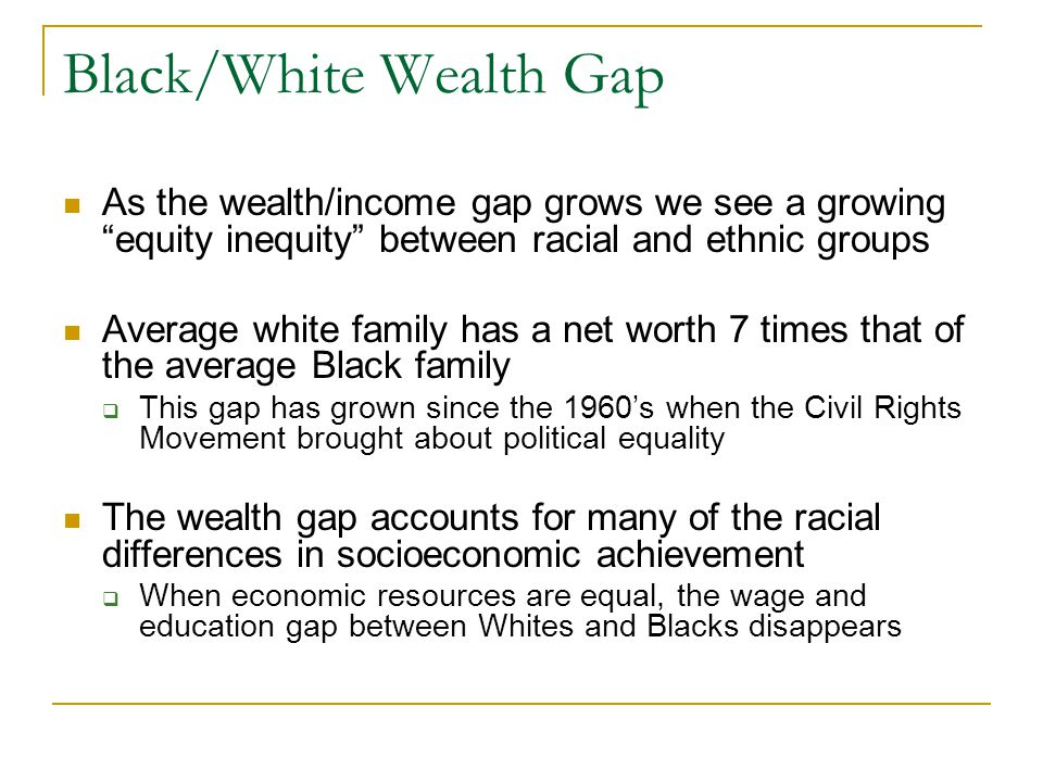 """Black/White Wealth Gap As the wealth/income gap grows we see a growing """"equity inequity"""" between racial and ethnic groups Average white family has a n"""