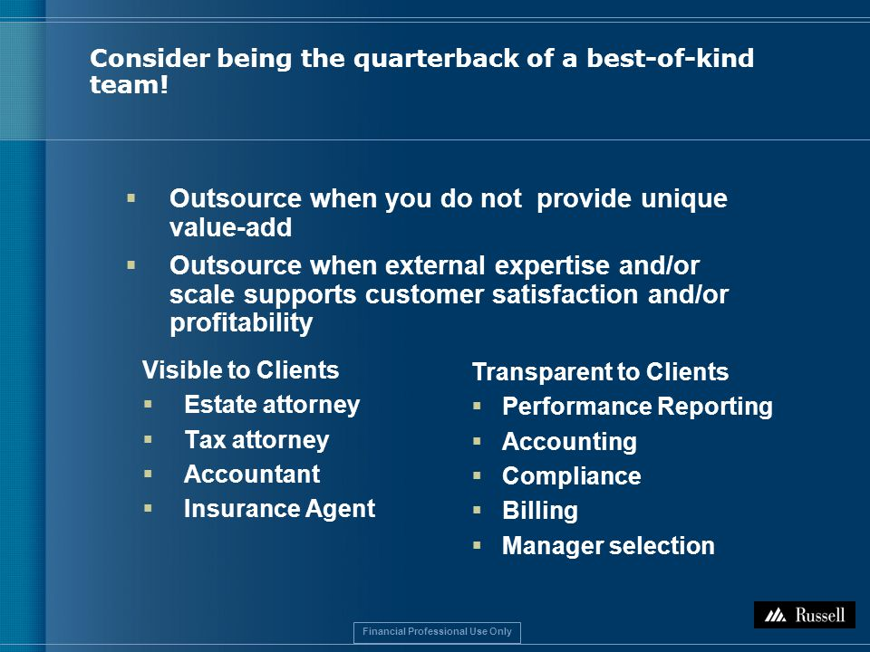 Financial Professional Use Only Consider being the quarterback of a best-of-kind team.