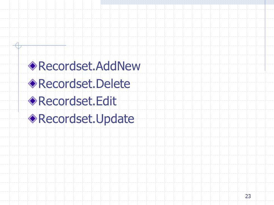 23 Recordset.AddNew Recordset.Delete Recordset.Edit Recordset.Update