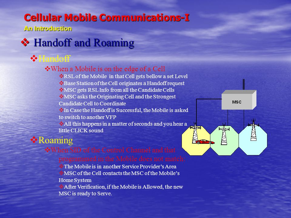 Cellular Mobile Communications-I An Introduction  Handoff and Roaming  Handoff  When a Mobile is on the edge of a Cell  RSL of the Mobile in that