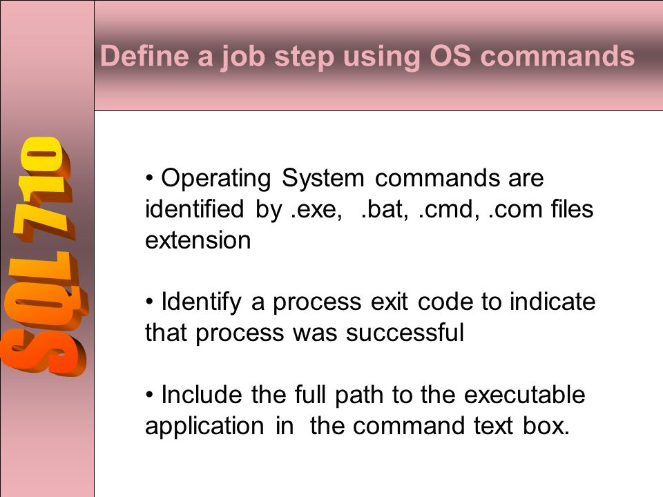 Define a job step using OS commands Operating System commands are identified by.exe,.bat,.cmd,.com files extension Identify a process exit code to indicate that process was successful Include the full path to the executable application in the command text box.