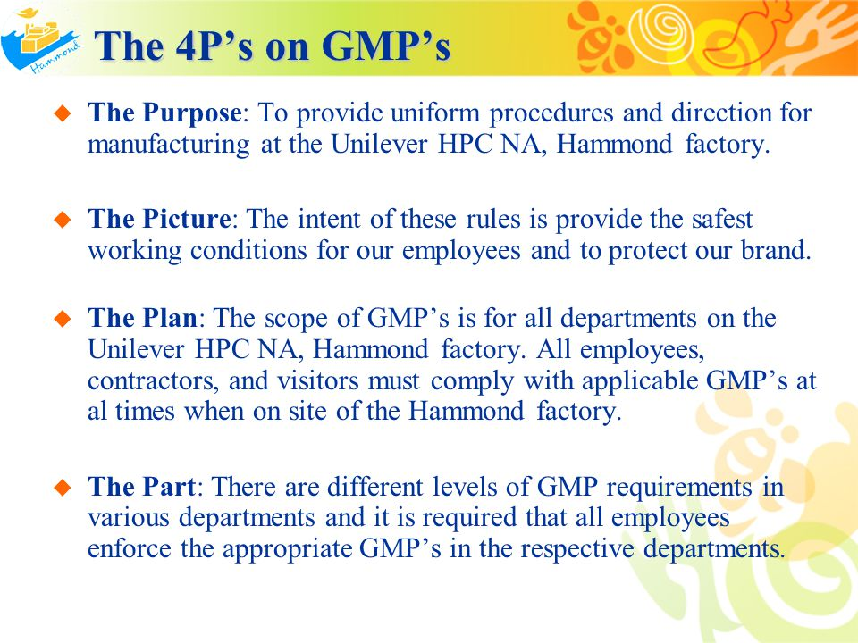Procedures Procedures GMP's are to be followed while working at this plant include, but are not limited to the following: Not following the stated GMP's is classified as Class III violation of the Standards for Personal Conduct.