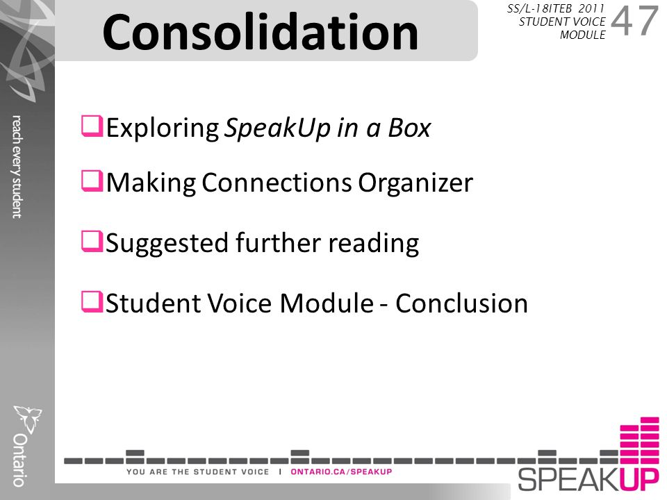 Consolidation 47 SS/L-18ITEB 2011 STUDENT VOICE MODULE  Exploring SpeakUp in a Box  Making Connections Organizer  Suggested further reading  Stude