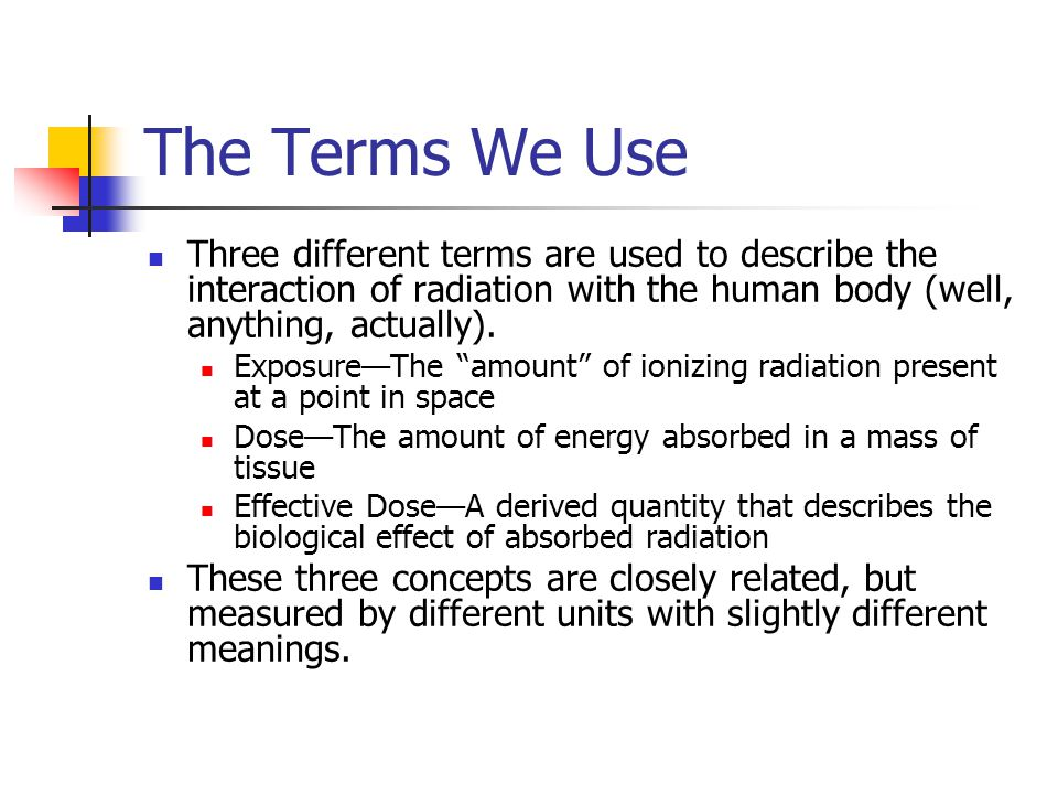 The Terms We Use Three different terms are used to describe the interaction of radiation with the human body (well, anything, actually).