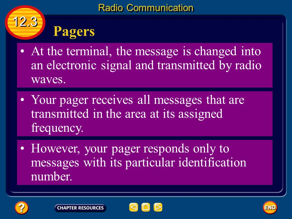 Pagers Another method of transmitting signals is a pager, which allows messages to be sent to a small radio receiver. A caller leaves a message at a c