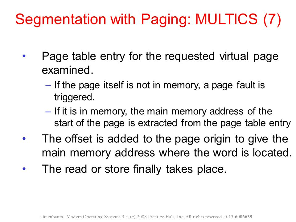 Page table entry for the requested virtual page examined.