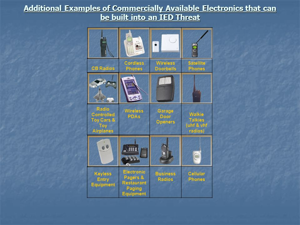 Additional Examples of Commercially Available Electronics that can be built into an IED Threat CB Radios Cordless Phones Wireless Doorbells Satellite
