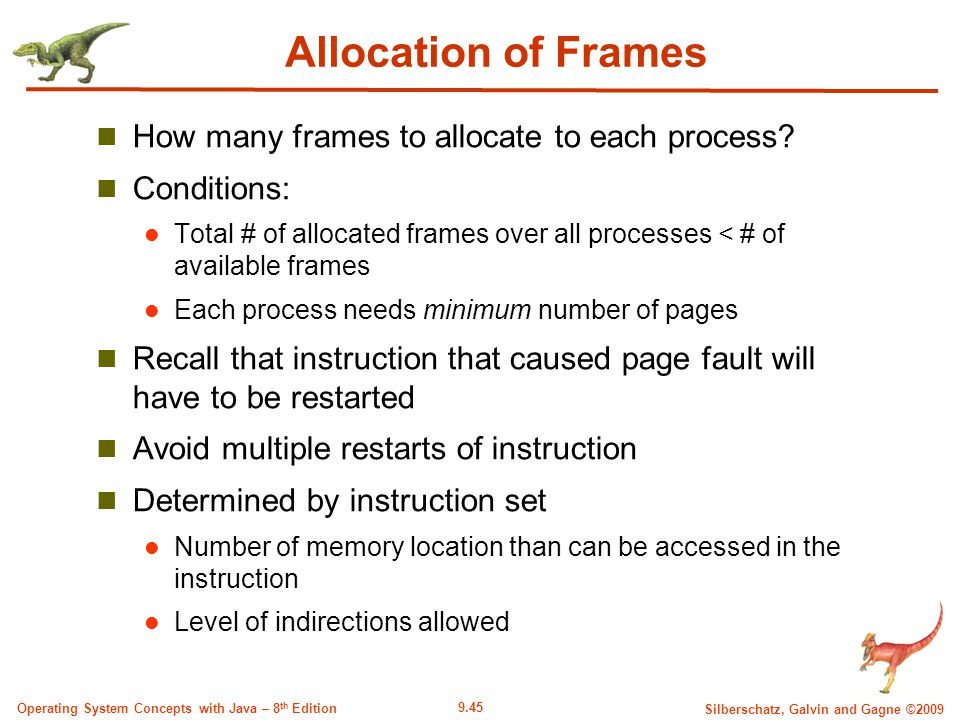 9.45 Silberschatz, Galvin and Gagne ©2009 Operating System Concepts with Java – 8 th Edition Allocation of Frames How many frames to allocate to each process.
