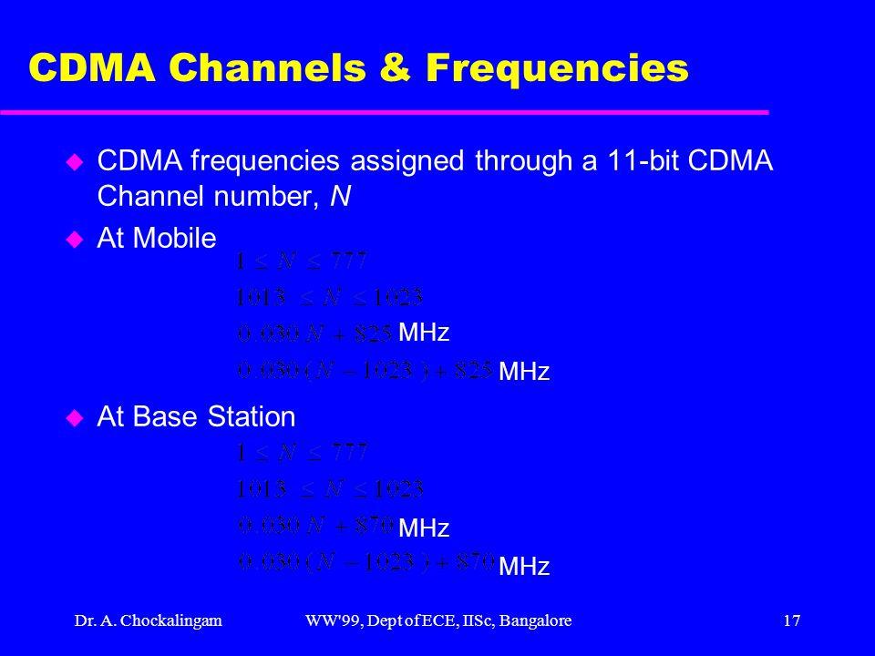 Dr. A. ChockalingamWW'99, Dept of ECE, IISc, Bangalore17 CDMA Channels & Frequencies u CDMA frequencies assigned through a 11-bit CDMA Channel number,
