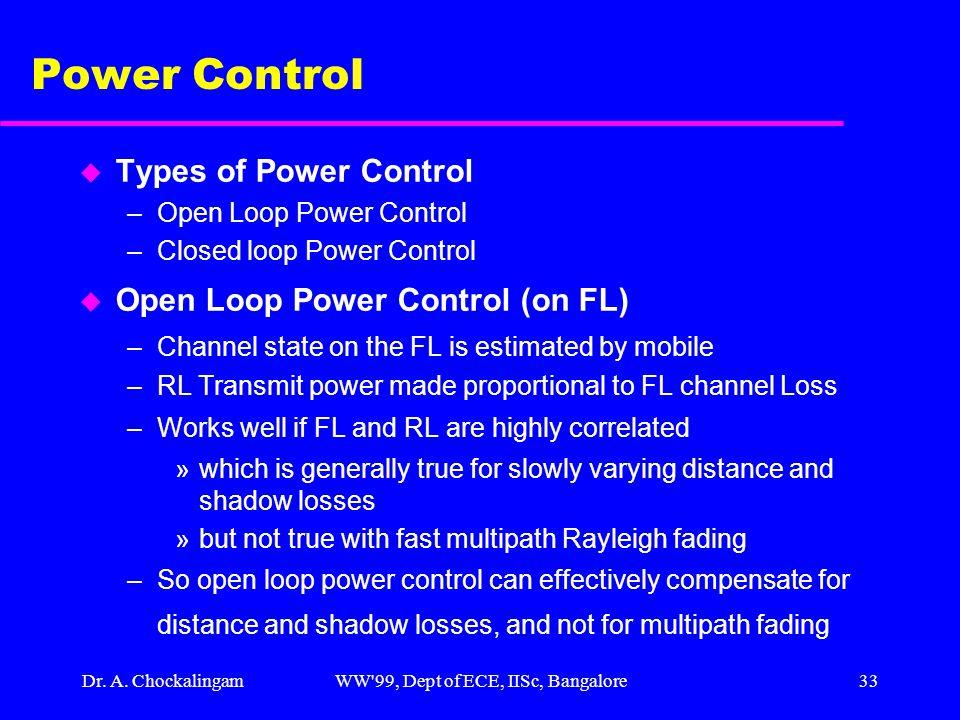 Dr. A. ChockalingamWW'99, Dept of ECE, IISc, Bangalore33 Power Control u Types of Power Control –Open Loop Power Control –Closed loop Power Control u