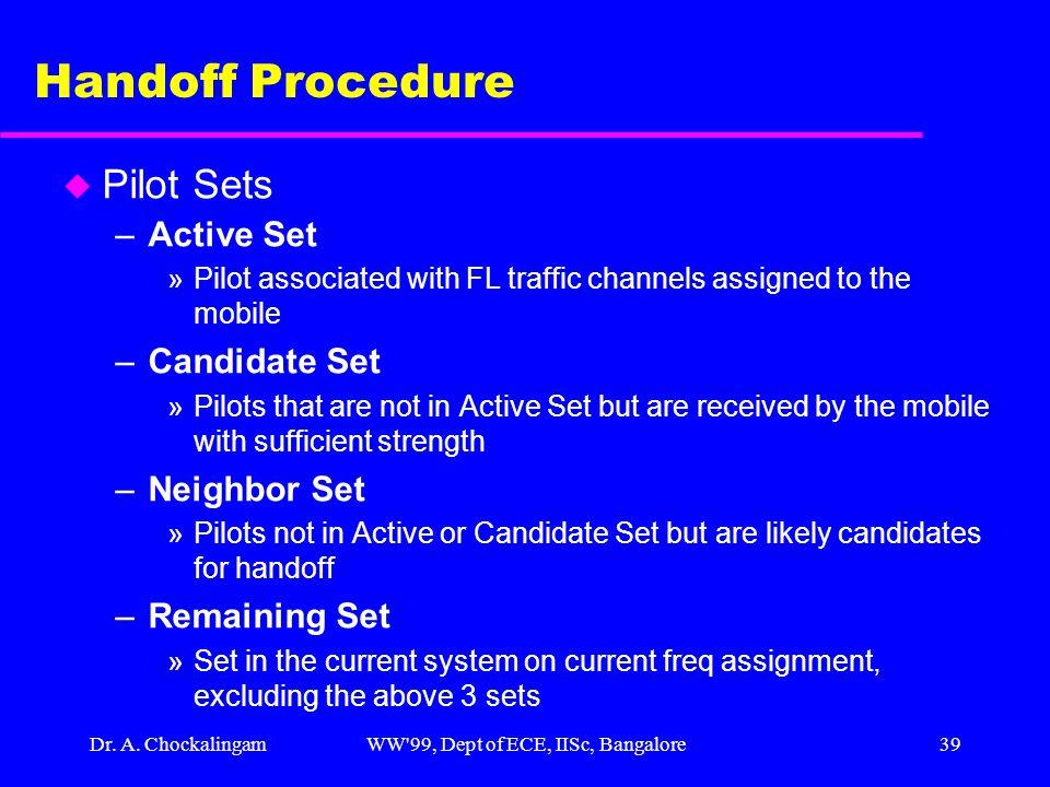Dr. A. ChockalingamWW'99, Dept of ECE, IISc, Bangalore39 Handoff Procedure u Pilot Sets –Active Set »Pilot associated with FL traffic channels assigne