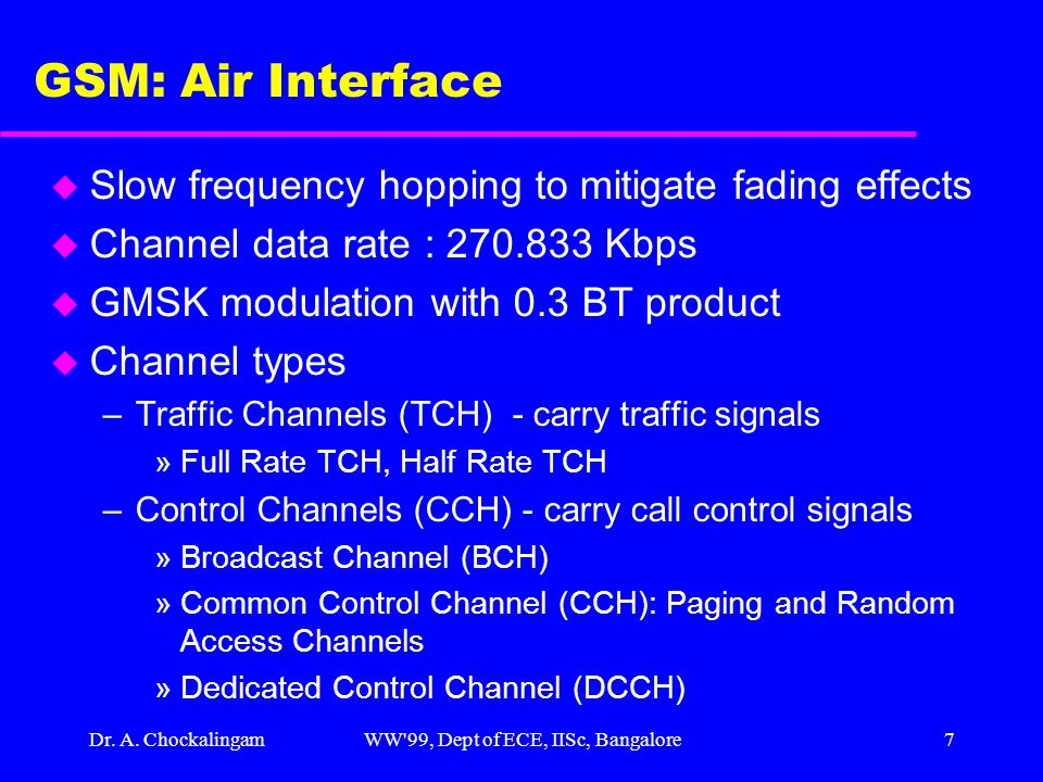 Dr. A. ChockalingamWW'99, Dept of ECE, IISc, Bangalore7 GSM: Air Interface u Slow frequency hopping to mitigate fading effects u Channel data rate : 2