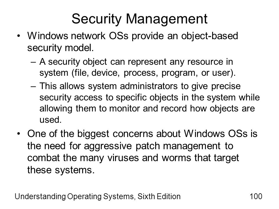 Understanding Operating Systems, Sixth Edition101 Security Basics The U.S.
