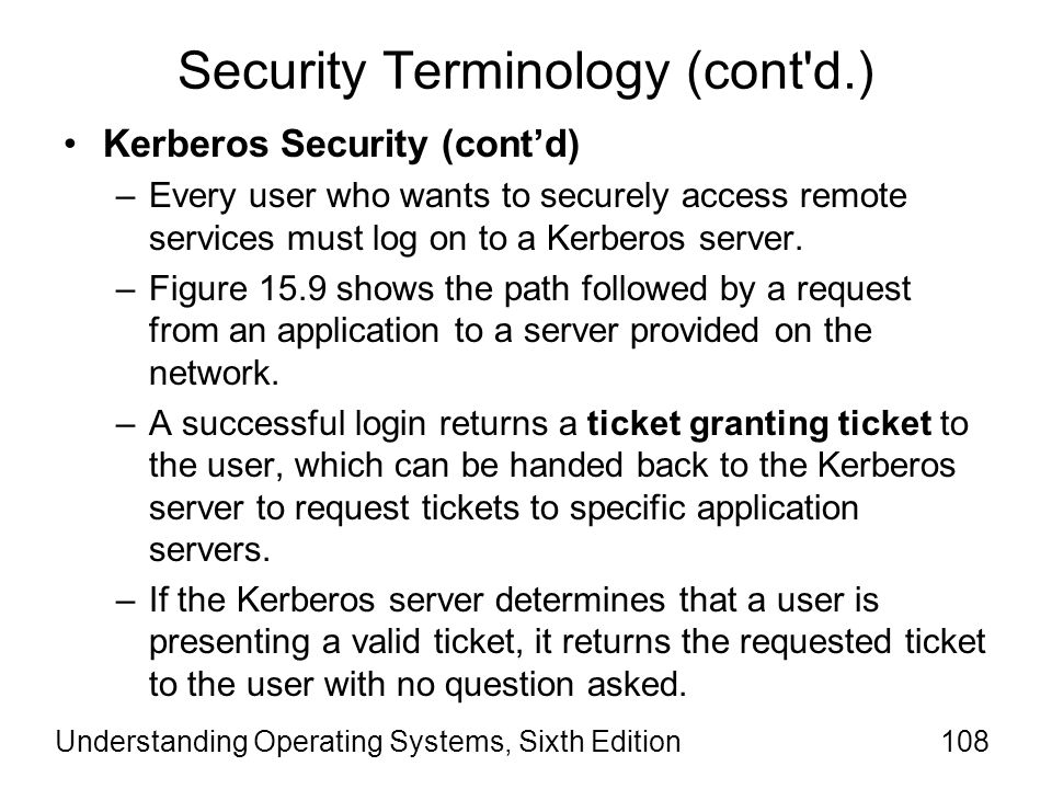 Understanding Operating Systems, Sixth Edition109 Security Terminology (cont d.) Kerberos Security (cont'd) –The user sends this ticket to the remote application server, which can examine it to verify the user's identity and authenticate the user.
