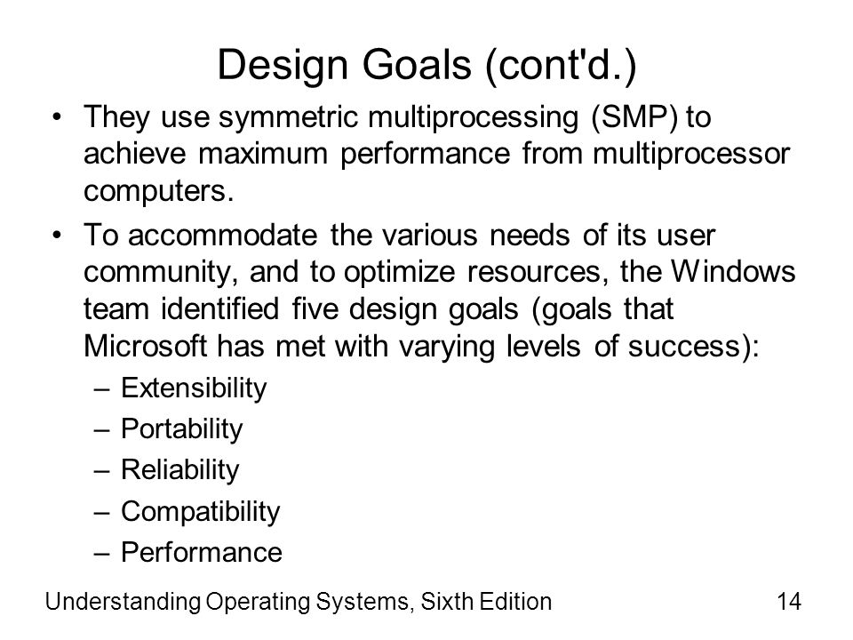Understanding Operating Systems, Sixth Edition15 Extensibility Knowing that Oss must change over time to support new hardware devices or new software technologies, the design team decided that the OS had to be easily enhanced.