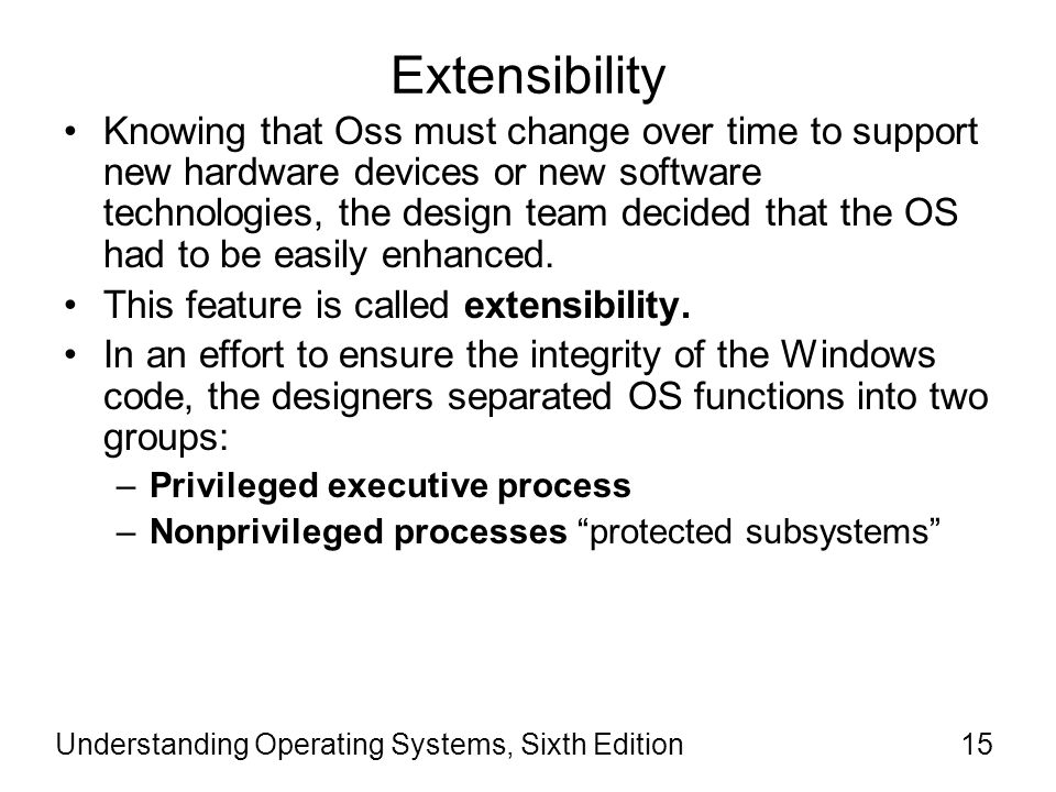 Understanding Operating Systems, Sixth Edition16 Extensibility (cont'd) The term privileged refers to a processor's mode of operation.