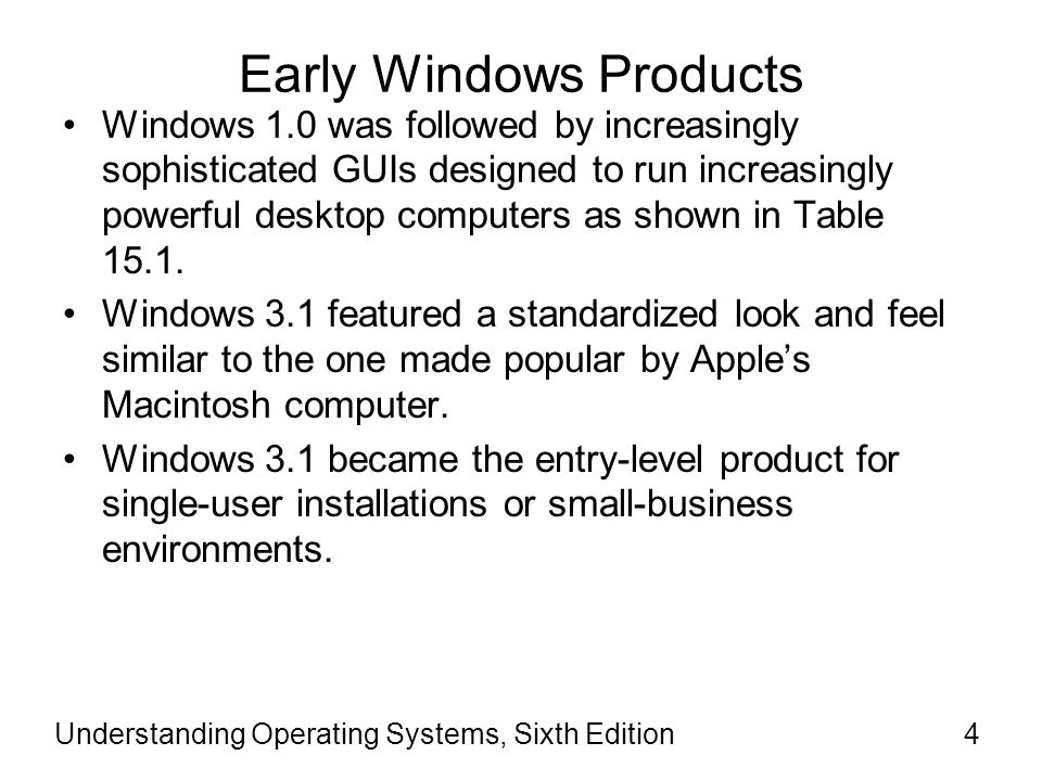 Understanding Operating Systems, Sixth Edition5 Early Windows Products (cont d.) Windows for Workgroups –The first Windows product to accommodate the needs of network users by including programs and features for small LANs.