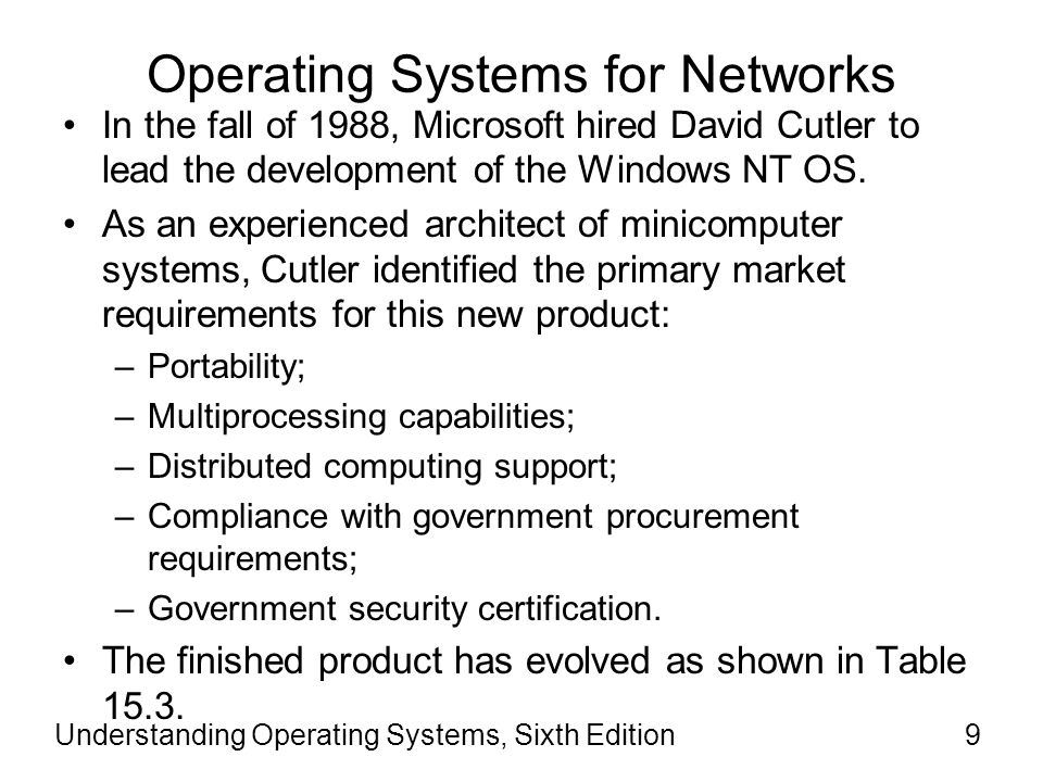 Understanding Operating Systems, Sixth Edition10 Operating Systems for Networks (cont d.)