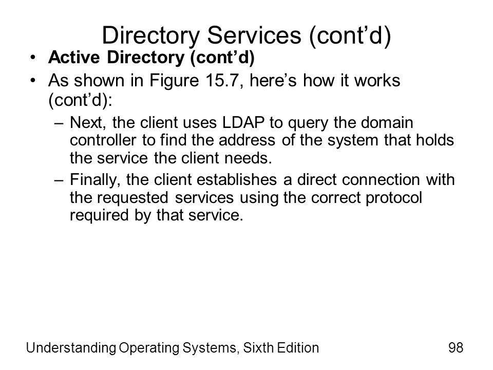 Understanding Operating Systems, Sixth Edition99 Directory Services (cont d.)