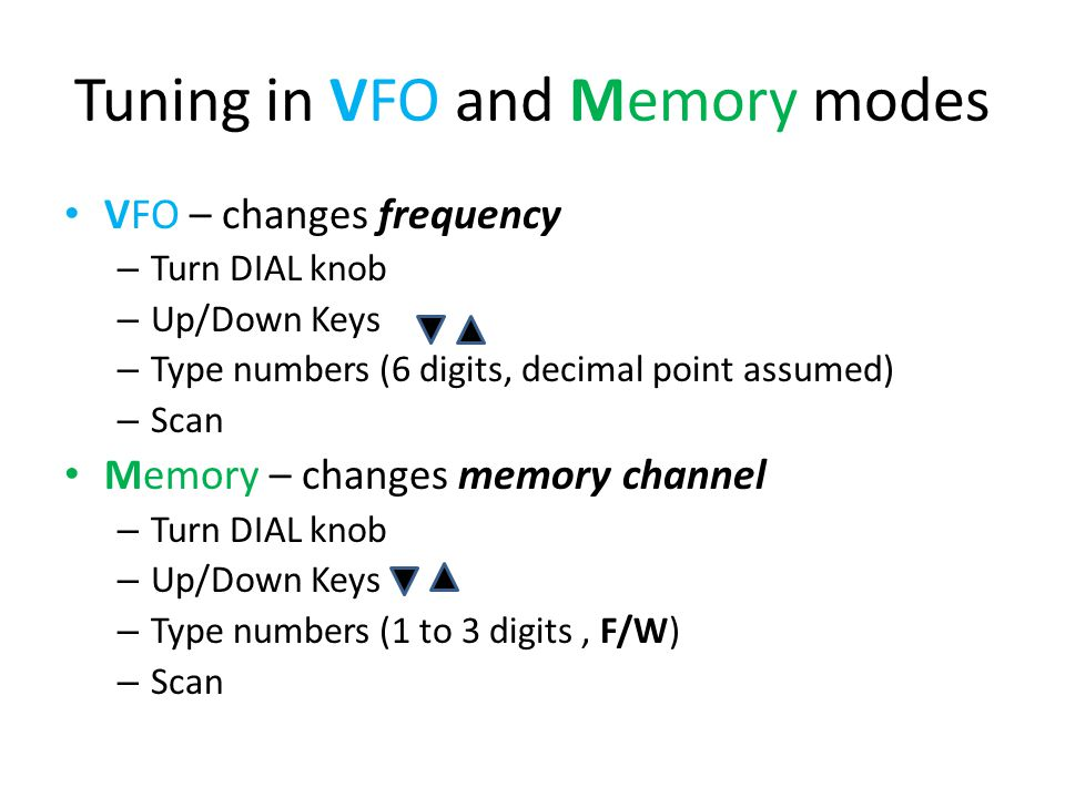 Tuning in VFO and Memory modes VFO – changes frequency – Turn DIAL knob – Up/Down Keys – Type numbers (6 digits, decimal point assumed) – Scan Memory – changes memory channel – Turn DIAL knob – Up/Down Keys – Type numbers (1 to 3 digits, F/W) – Scan