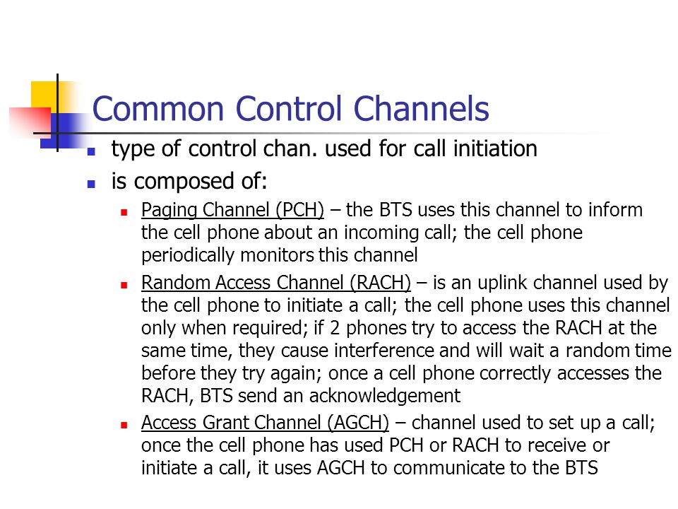 Common Control Channels type of control chan.