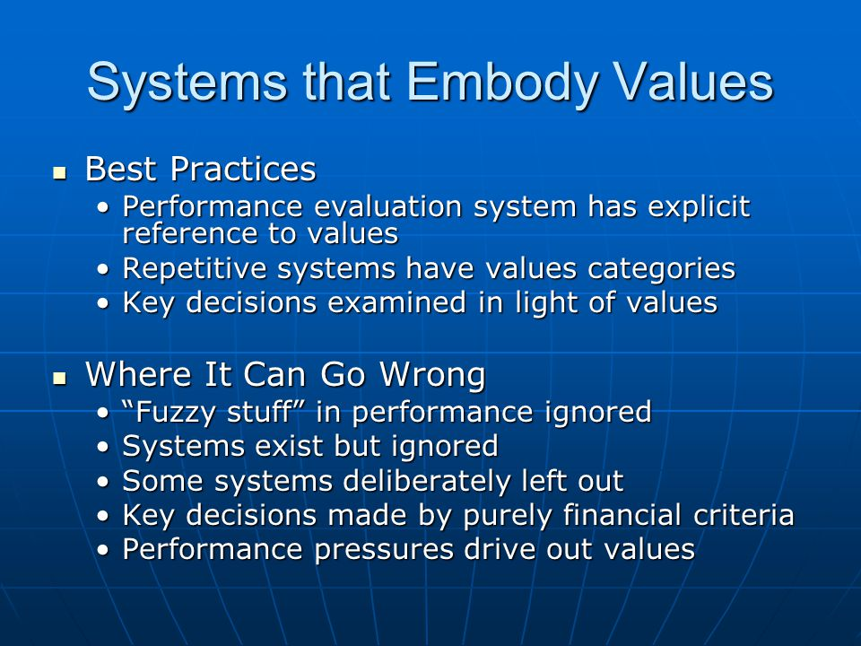 Systems that Embody Values Best Practices Best Practices Performance evaluation system has explicit reference to valuesPerformance evaluation system has explicit reference to values Repetitive systems have values categoriesRepetitive systems have values categories Key decisions examined in light of valuesKey decisions examined in light of values Where It Can Go Wrong Where It Can Go Wrong Fuzzy stuff in performance ignored Fuzzy stuff in performance ignored Systems exist but ignoredSystems exist but ignored Some systems deliberately left outSome systems deliberately left out Key decisions made by purely financial criteriaKey decisions made by purely financial criteria Performance pressures drive out valuesPerformance pressures drive out values