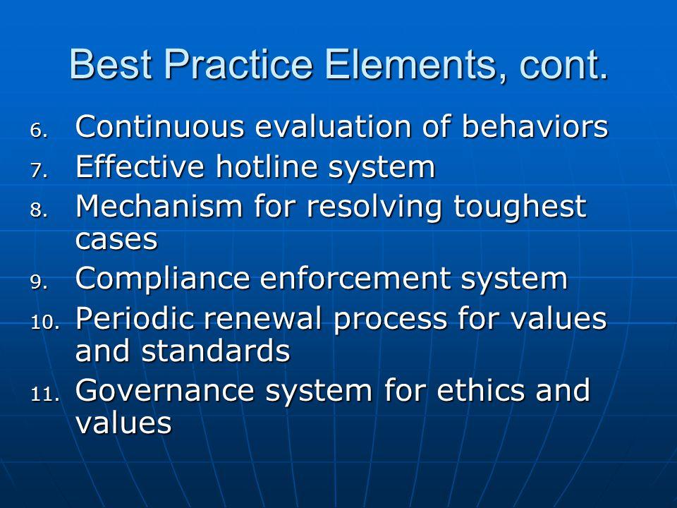 Best Practice Elements, cont. 6. Continuous evaluation of behaviors 7.