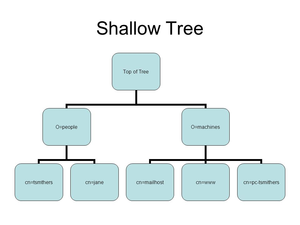 Shallow Tree Top of Tree O=people cn=tsmtherscn=jane O=machines cn=mailhostcn=www cn=pc- tsmithers