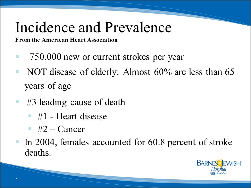 2 Incidence and Prevalence From the American Heart Association  750,000 new or current strokes per year  NOT disease of elderly: Almost 60% are less