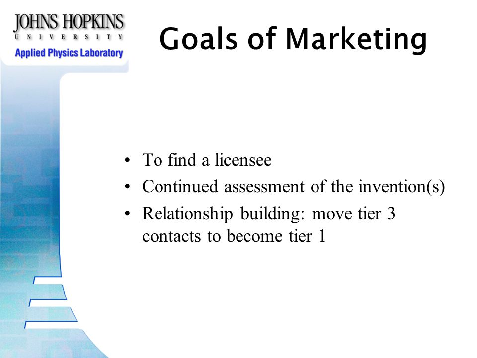 Goals of Marketing To find a licensee Continued assessment of the invention(s) Relationship building: move tier 3 contacts to become tier 1