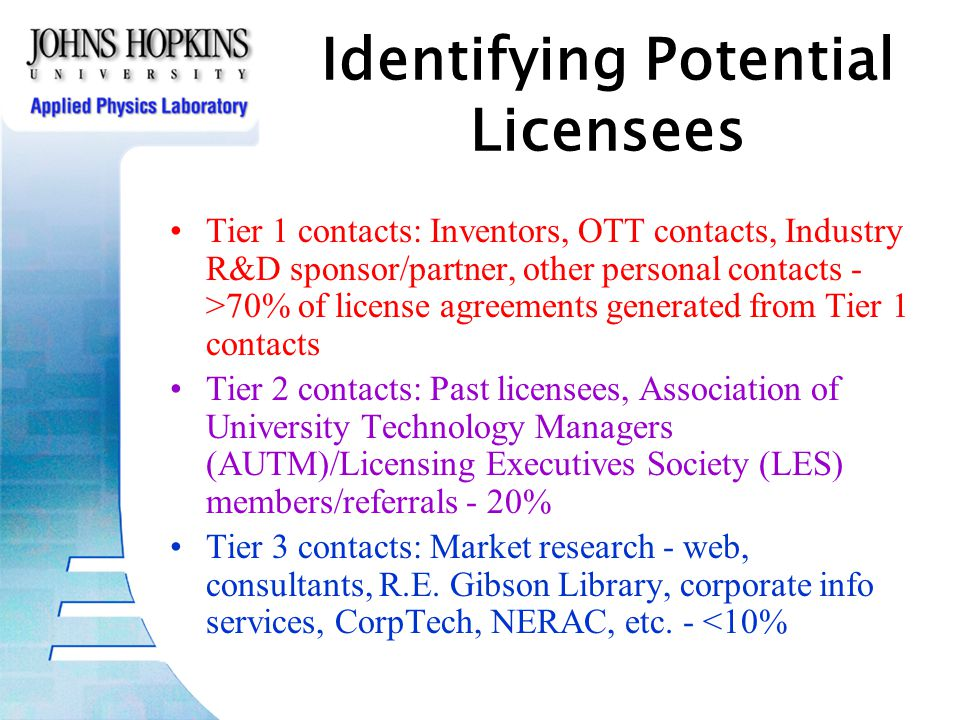 Identifying Potential Licensees Tier 1 contacts: Inventors, OTT contacts, Industry R&D sponsor/partner, other personal contacts - >70% of license agreements generated from Tier 1 contacts Tier 2 contacts: Past licensees, Association of University Technology Managers (AUTM)/Licensing Executives Society (LES) members/referrals - 20% Tier 3 contacts: Market research - web, consultants, R.E.